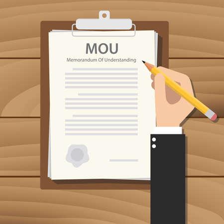 mou memorandum of understanding concept paper document clipboard vector