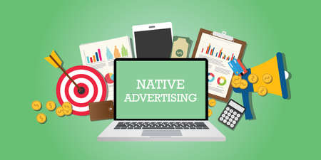 Illustration pour native advertising concept with marketing media and tools illustrated in laptop vector - image libre de droit