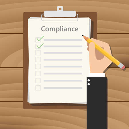compliance concept agreement with hand hold pencil signing paper document on clipboard on wood table