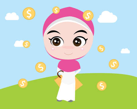 a moslem girl like shopping with shopping bags and gold money coins vector