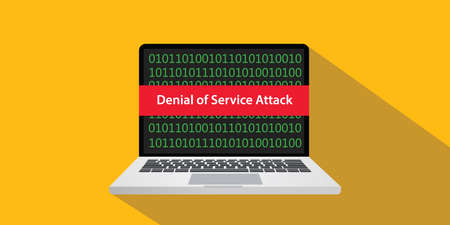 Denial of service attack dos concept illustration with laptop computer and text banner on screen with flat style and long shadow
