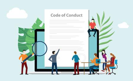 Ilustración de code of conduct team people work together on paper document on laptop screen - vector illustration - Imagen libre de derechos