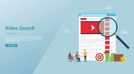 online video search concept technology with magnifying glass and business team searching for website template orn landing homepage with modern flat style - vector illustration