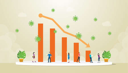 Illustration pour economy crisis with graph or chart decrease down because or corona covid-19 concept with modern flat style vector - image libre de droit