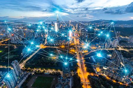 Foto de Shenzhen city rapid development and busy 5G data network space - Imagen libre de derechos