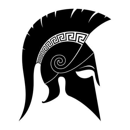 Illustration pour Black spartan helmet icon. Vector illustration. - image libre de droit