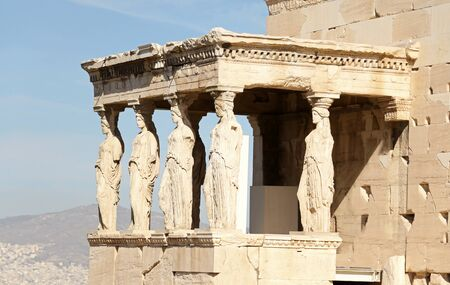 Photo for The Erechtheum temple stone porch with Caryatids in Erechtheion in Acropolis, Athens, Greece - Royalty Free Image