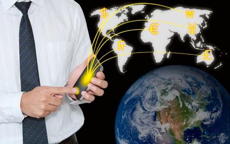 Businessman transfer moneys via mobile phone