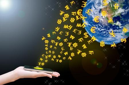 Hand transfer moneys via mobile phone