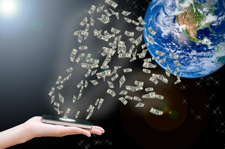 Hand sent money via smart phone