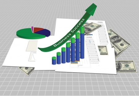 Increasing graph with business plan