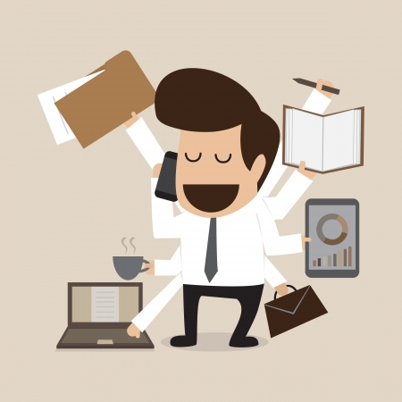 Illustration for Businessman with multi tasking and multi skill - Royalty Free Image