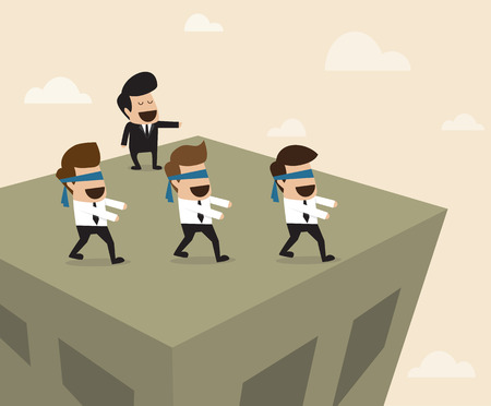 Vector cartoon of Boss leads employees to the wrong way