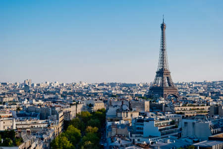 Eiffel Tower Paris panoramic view from Triumphal Arch