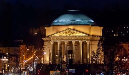 Torino, Gran Madre di Dio Church by night: Royalty-free