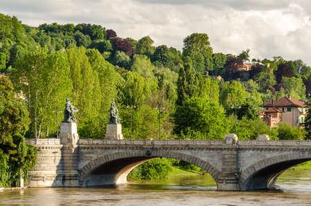 Turin, bridge on river Po an