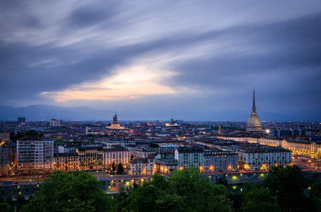 Turin (Torino), high definition panorama at twilight1