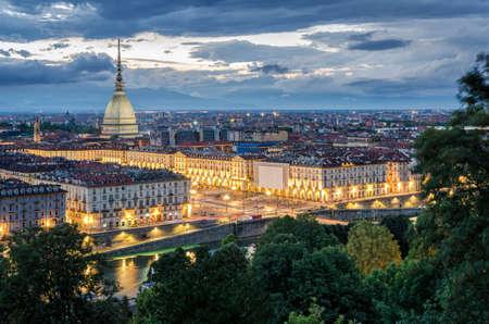Torino panorama at twilight: Royalty-free images, photos and