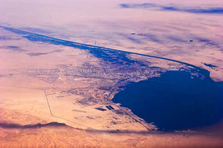 Aerial view of Suez Canal and seaport Suez, Egypt