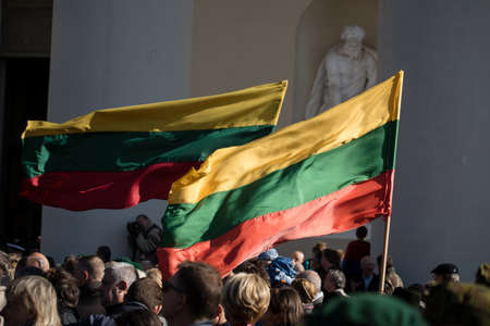Vilnius, Lithuania - October 6, 2018: The state funeral of Brigadier General Adolfas Ramanauskas-Vanagas, prominent leader of the Lithuanian Freedom Fighters (partisans) against Soviet occupation.