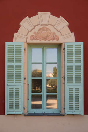 Nice, France - November 3, 2016: Window of Matisse museum (Musee Matisse de Nice) devoted to work of French painter Henri Matisse, located in Villa des Arenes in Cimiez neighborhood.