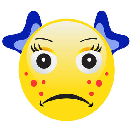 Emoticon with acne squeezing a pimple on white background.