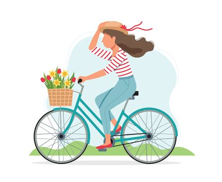 Illustration pour Woman riding a bike in spring with flowers in the basket. Cute vector illustration in flat style - image libre de droit