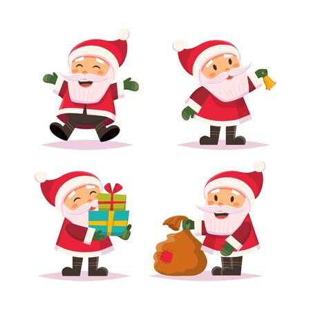 Illustration pour Santa Claus cute character set in flat style, isolated on white background. Vector illustration - image libre de droit