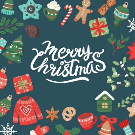 Ilustración de Christmas banner with lettering and cute seasonal elements, vector illustration in flat style - Imagen libre de derechos