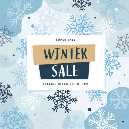 Illustration for Winter sale abstract modern banner template with snowflakes, vector illustration - Royalty Free Image
