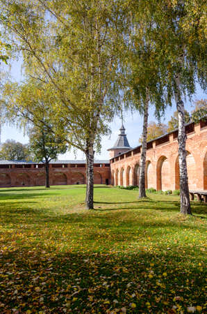 Autumn landscape in Zaraysk Kremlin a rectangular fortified citadel, built on orders of the Grand Prince Vasili III, originally constructed between 1528 and 1531, and located in the European part of Russia. It forms the historic centre of the industrial t
