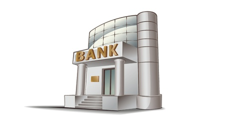 Bank building illustration, financial theme.
