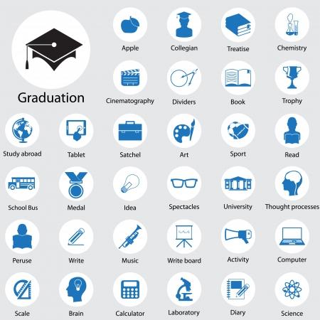 Illustration pour Education icons set - image libre de droit