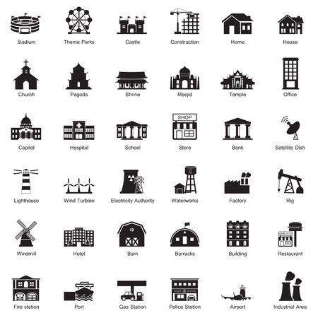 Buildings city icon set