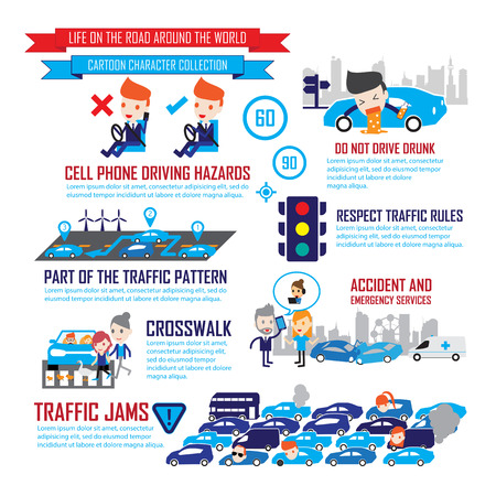 Illustration pour Traffic  in the city,Cartoon Characters infographic - image libre de droit