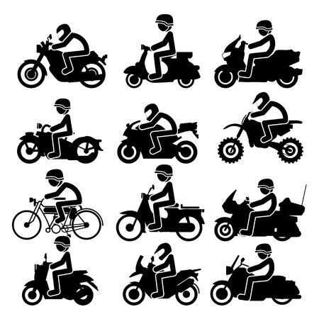 Illustration pour Motorcycle rider Icons set. Vector Illustration - image libre de droit