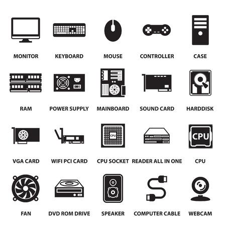 Illustration pour computer hardware icons set - image libre de droit