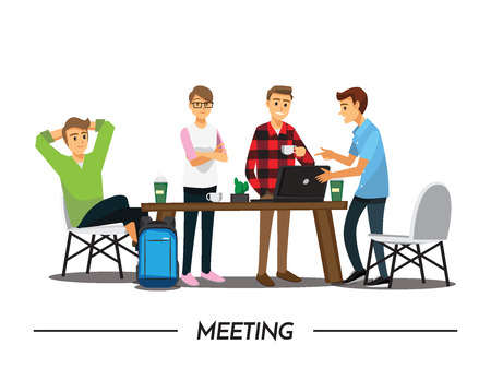Illustration pour Group of Business People meeting on a Cafe, illustration cartoon character - image libre de droit