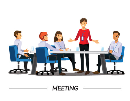 Ilustración de Group of Business People meeting,Vector illustration cartoon character - Imagen libre de derechos