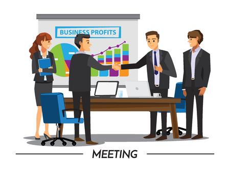 Illustration pour Businesss and office concept - two businessmen shaking hands,Vector illustration cartoon character - image libre de droit