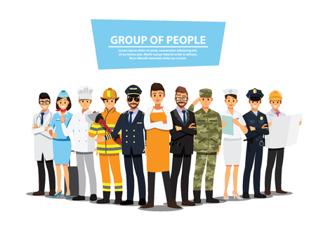 Ilustración de People Group Different Job Set,  Flat Vector Illustration Background - Imagen libre de derechos