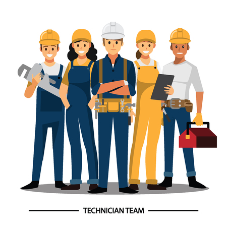 Ilustración de Technician and builders and engineers and mechanics People teamwork ,Vector illustration cartoon character. - Imagen libre de derechos