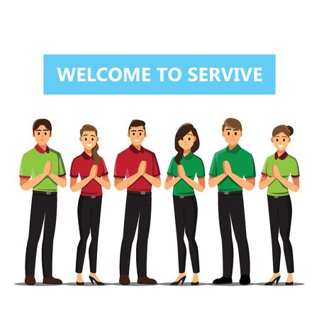 Ilustración de Receptionist .Business people Welcome concept cartoon illustration - Imagen libre de derechos