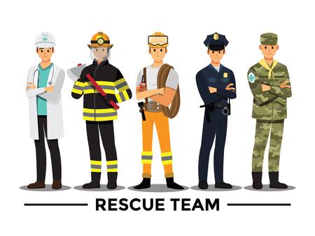Ilustración de rescue team ,Vector illustration cartoon character. - Imagen libre de derechos