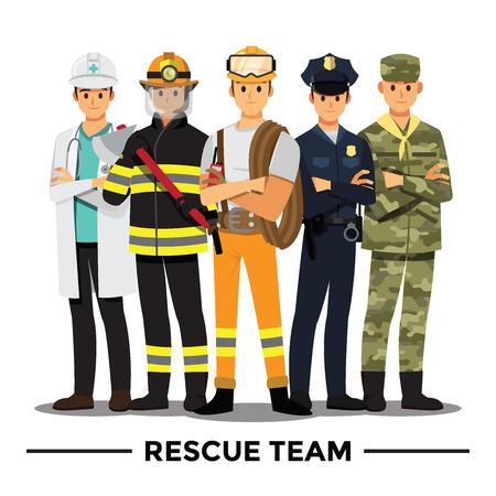 Ilustración de Rescue team cartoon character. - Imagen libre de derechos