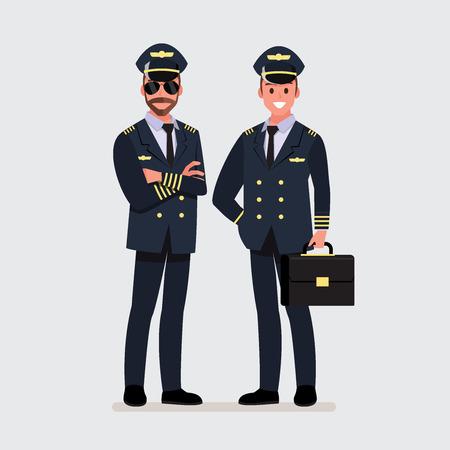 Ilustración de Pilot, capitan .Vector illustration cartoon character - Imagen libre de derechos