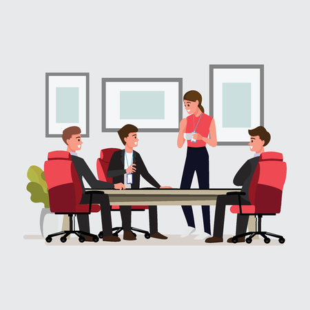Business People Having Board Meeting,Vector illustration cartoon ...
