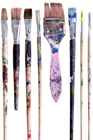 Photo pour Various dirty paint brushes displayed side by side - image libre de droit