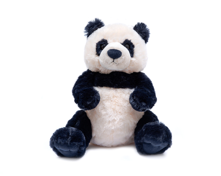 Foto de Panda bear stuffed plush toy isolated on white background - Imagen libre de derechos