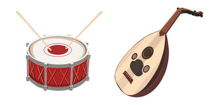 Stylish drum vector design illustration isolated on white background oud vector illustration